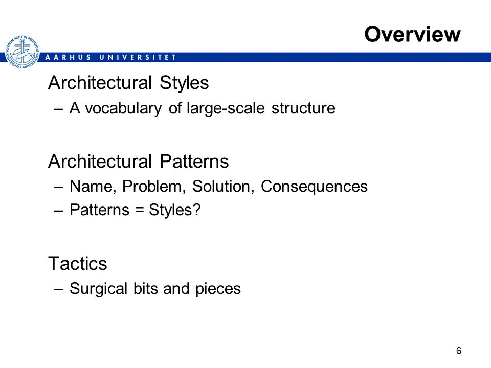 Overview Architectural Styles Architectural Patterns Tactics