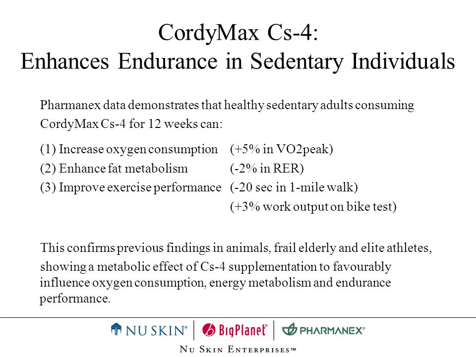 CordyMax Cs-4: Enhances Endurance in Sedentary Individuals