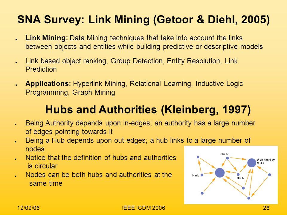 SNA Survey: Link Mining (Getoor & Diehl, 2005)