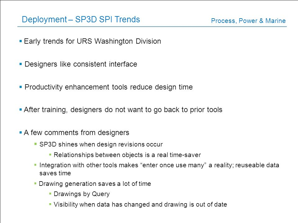 Deployment – SP3D SPI Trends
