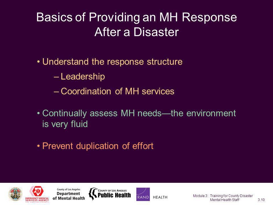 Basics of Providing an MH Response After a Disaster