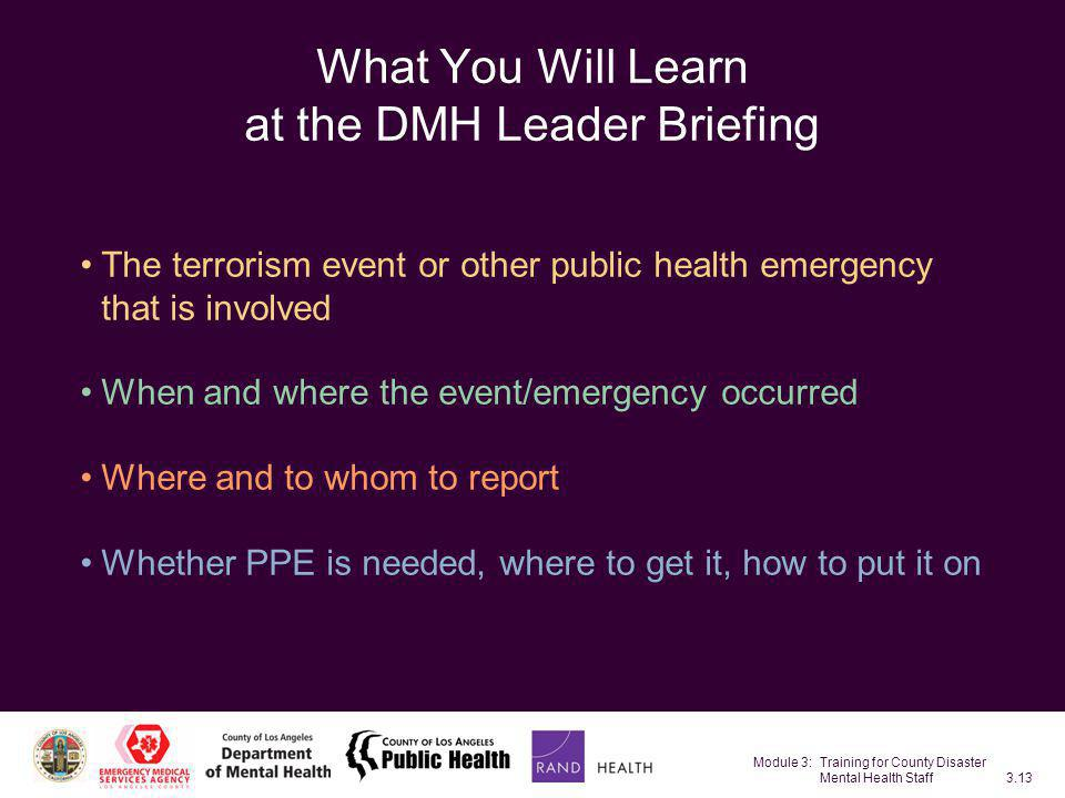 What You Will Learn at the DMH Leader Briefing