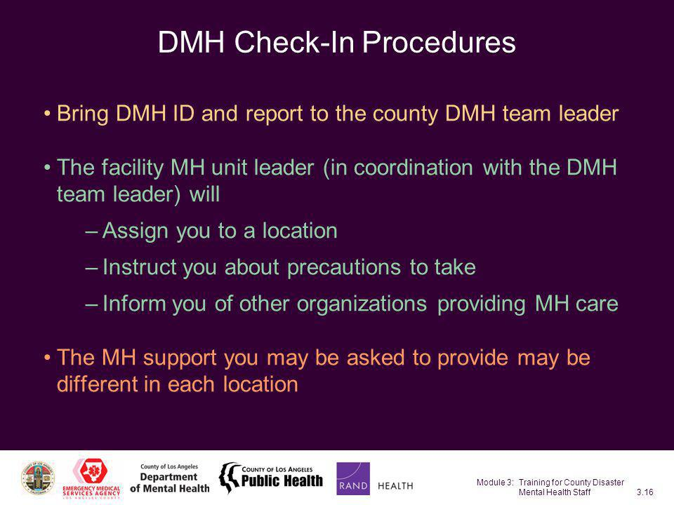 DMH Check-In Procedures