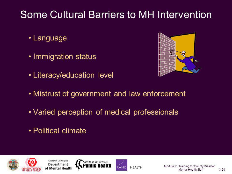 Some Cultural Barriers to MH Intervention