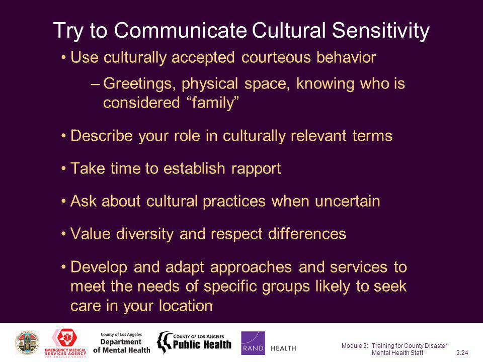 Try to Communicate Cultural Sensitivity