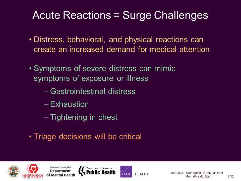 Acute Reactions = Surge Challenges