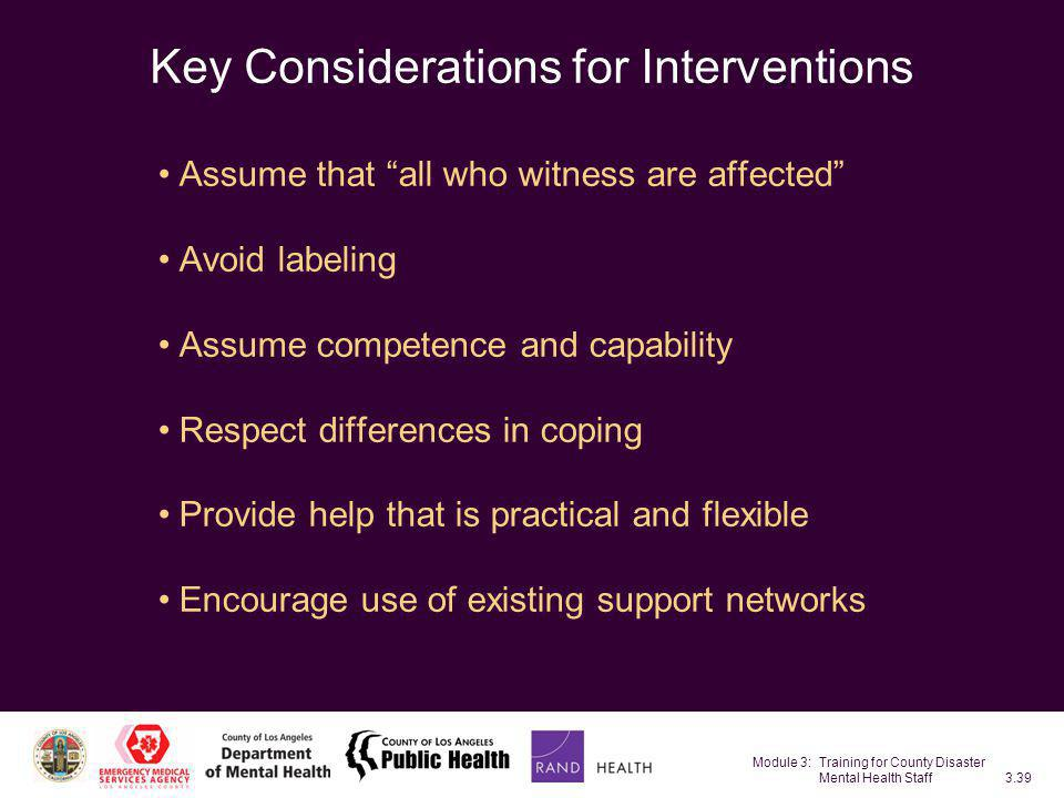 Key Considerations for Interventions
