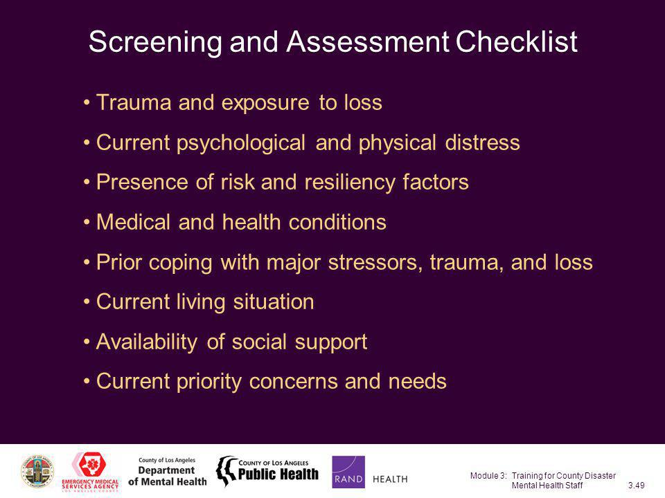 Screening and Assessment Checklist