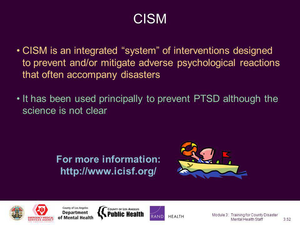 Module 3: Training for County Disaster Mental Health Staff