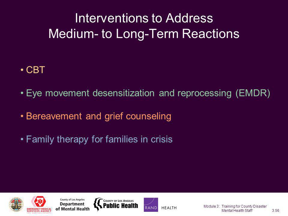 Interventions to Address Medium- to Long-Term Reactions