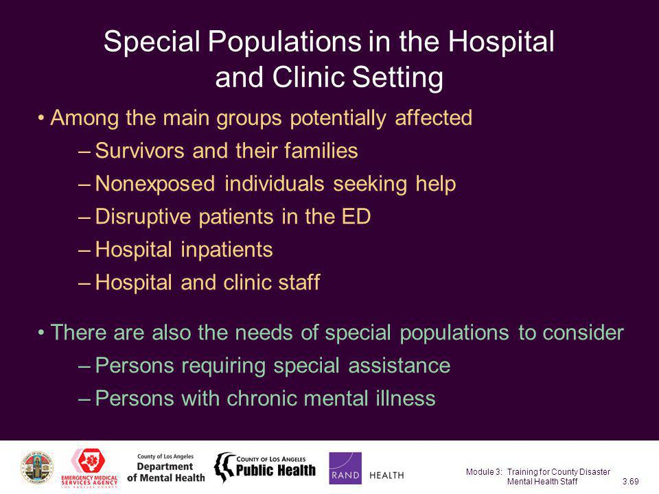 Special Populations in the Hospital and Clinic Setting