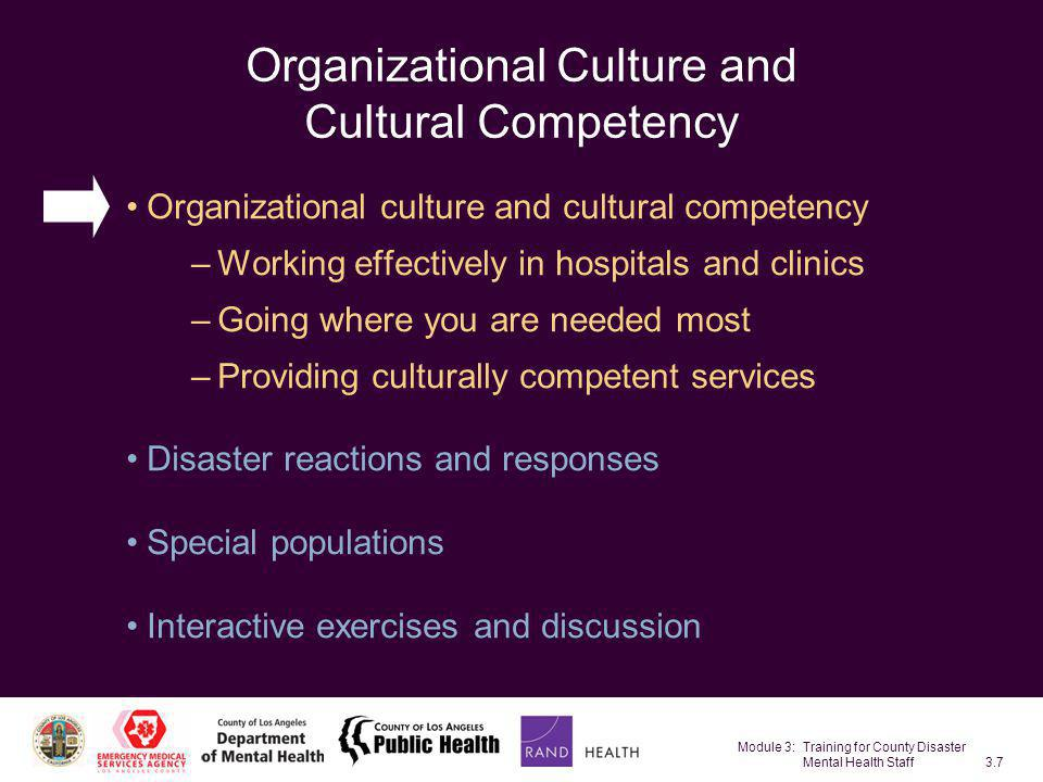 Organizational Culture and Cultural Competency
