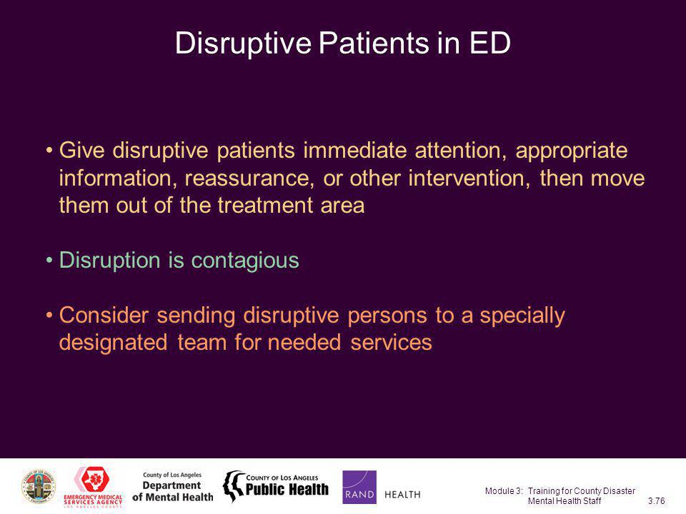 Disruptive Patients in ED
