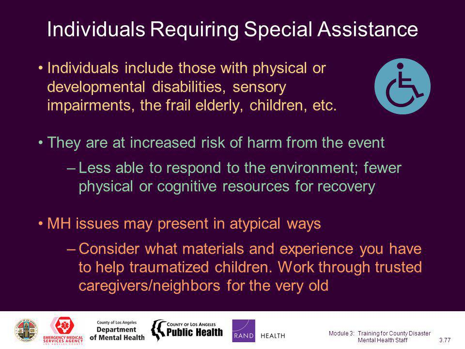 Individuals Requiring Special Assistance
