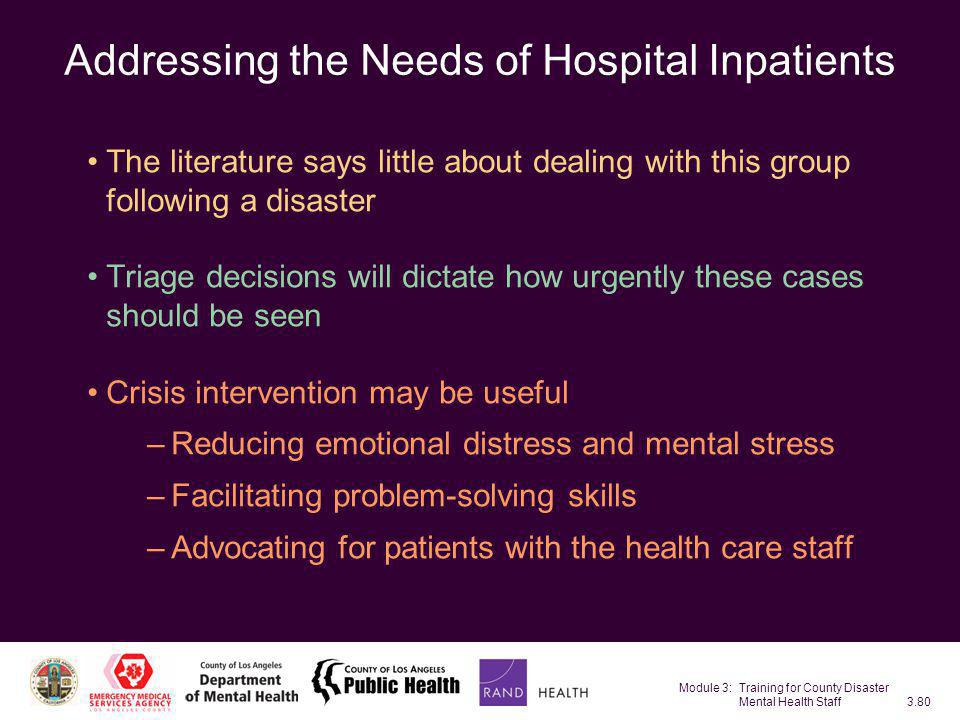 Addressing the Needs of Hospital Inpatients