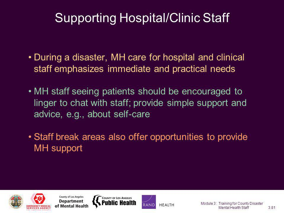 Supporting Hospital/Clinic Staff