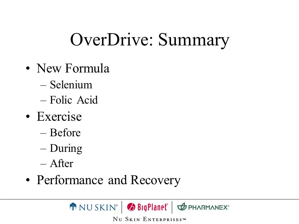 OverDrive: Summary New Formula Exercise Performance and Recovery