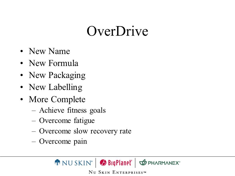 OverDrive New Name New Formula New Packaging New Labelling