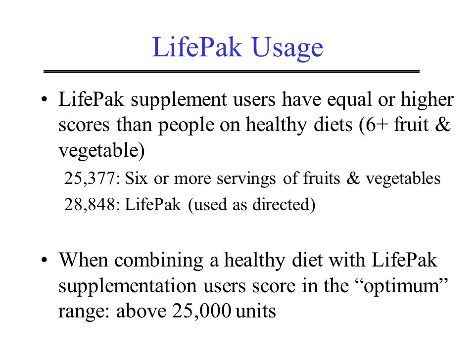 LifePak Usage LifePak supplement users have equal or higher scores than people on healthy diets (6+ fruit & vegetable)