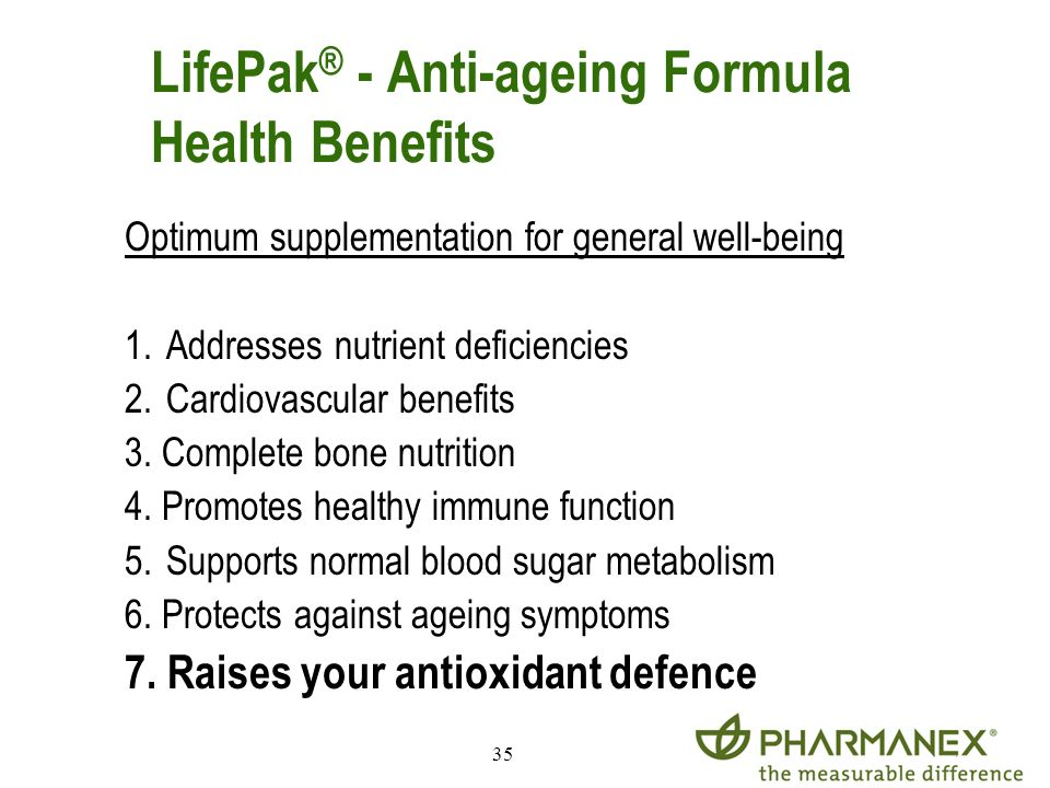 LifePak® - Anti-ageing Formula Health Benefits