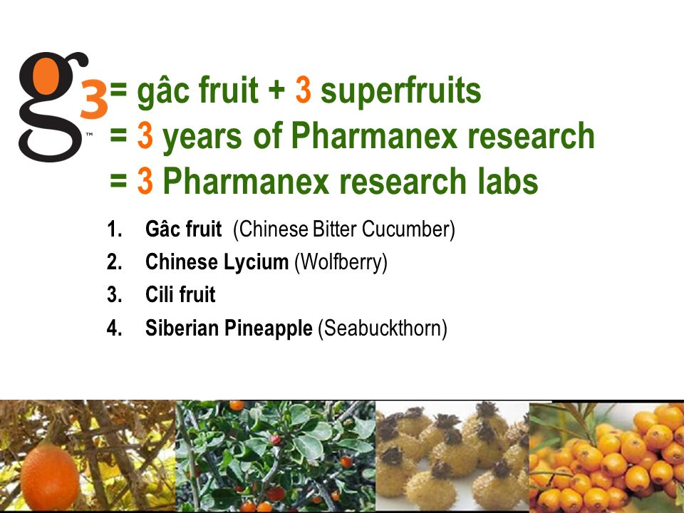 = gâc fruit + 3 superfruits = 3 years of Pharmanex research = 3 Pharmanex research labs