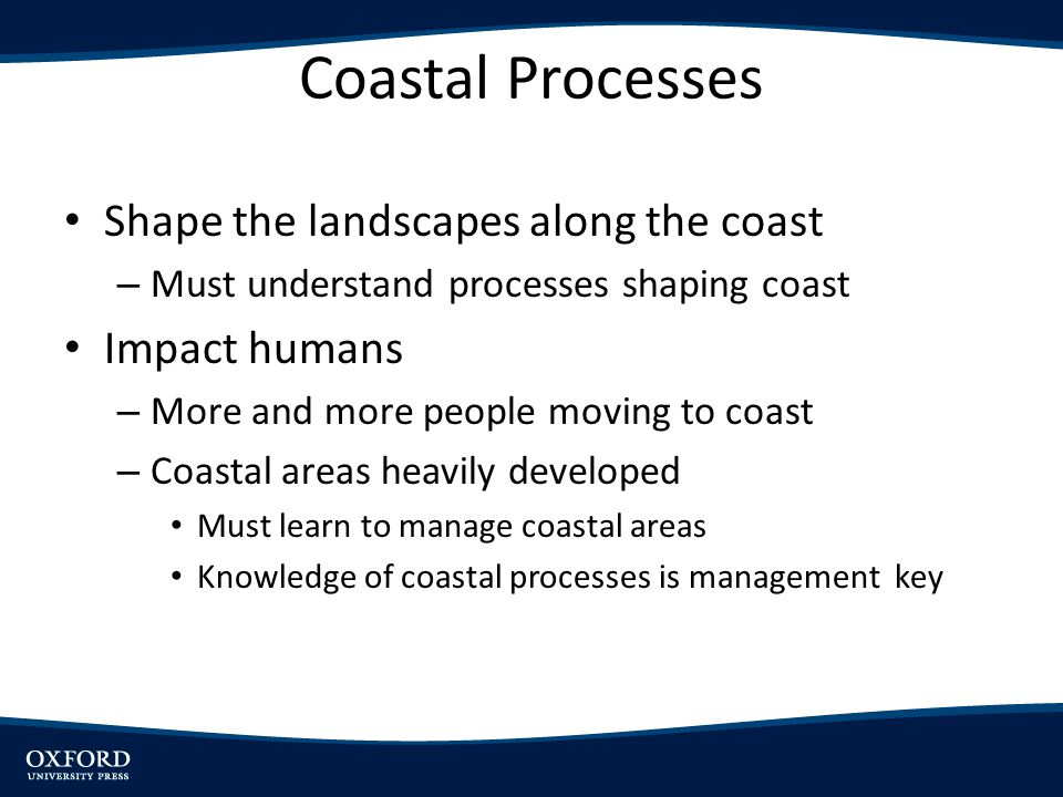 Coastal Processes Shape the landscapes along the coast Impact humans