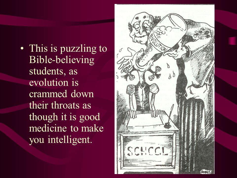 This is puzzling to Bible-believing students, as evolution is crammed down their throats as though it is good medicine to make you intelligent.
