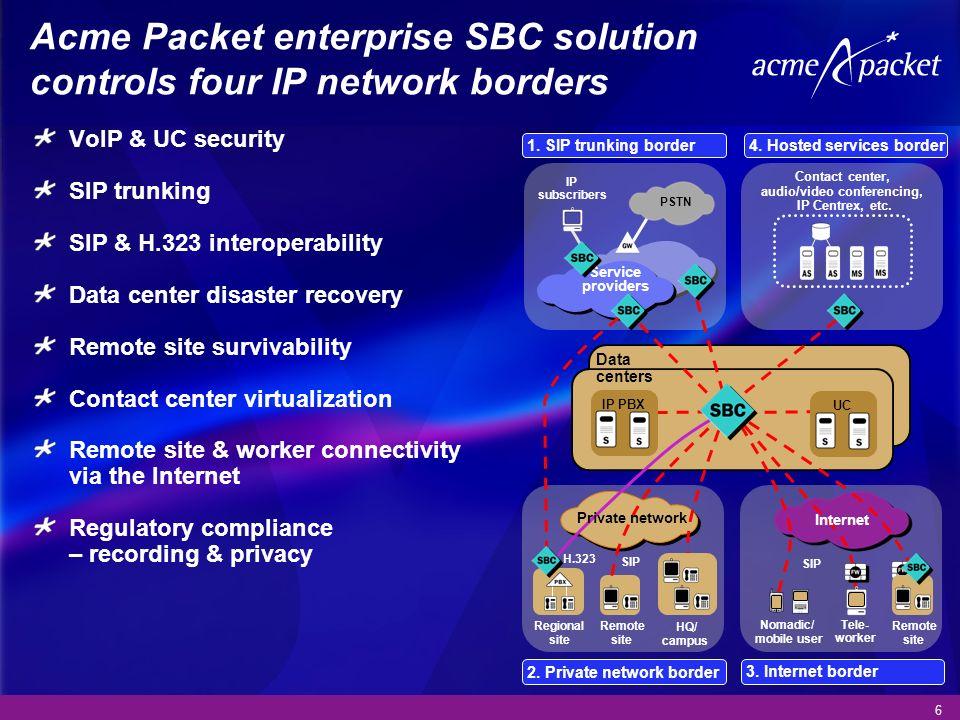 Acme Packet enterprise SBC solution controls four IP network borders