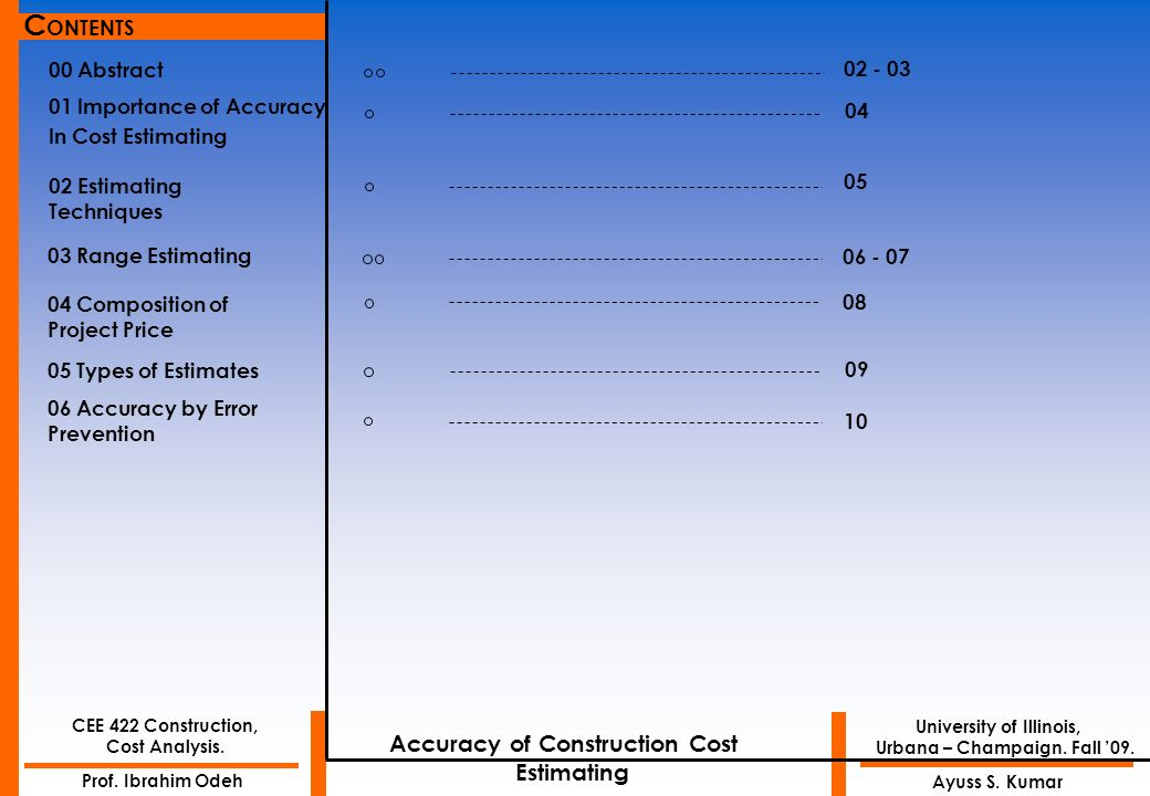 CONTENTS Accuracy of Construction Cost Estimating 00 Abstract 02 - 03