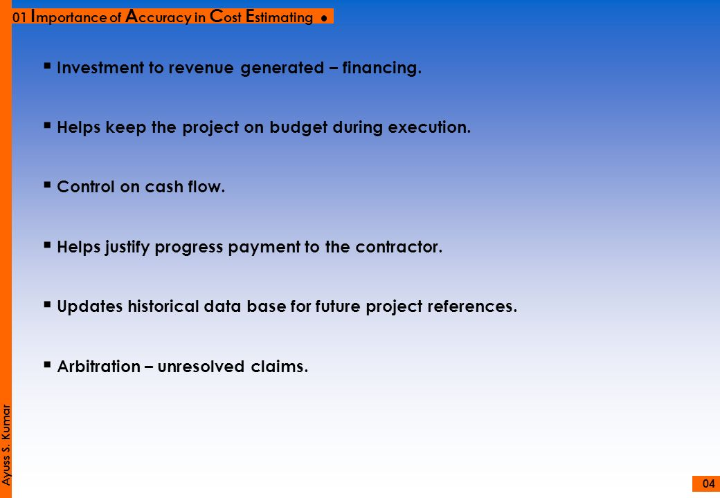 Investment to revenue generated – financing.