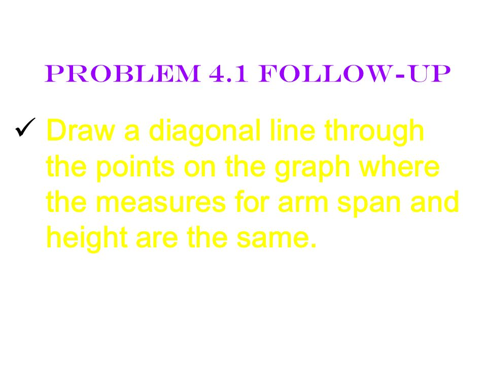 Problem 4.1 Follow-Up Draw a diagonal line through the points on the graph where the measures for arm span and height are the same.