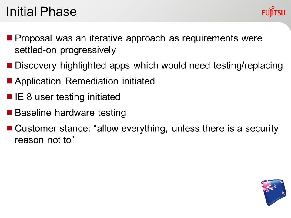 Initial PhaseProposal was an iterative approach as requirements were settled-on progressively.
