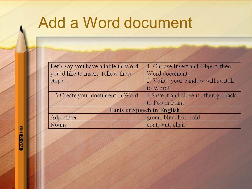 Add a Word document