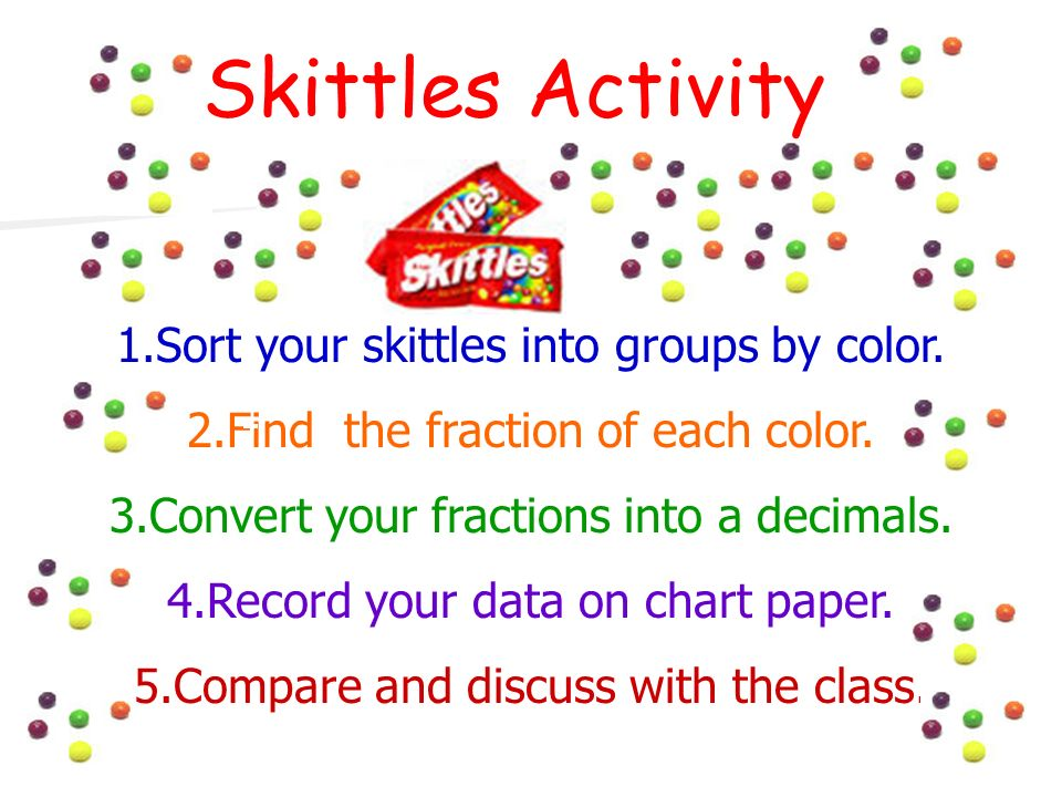 Skittles Activity Sort your skittles into groups by color.