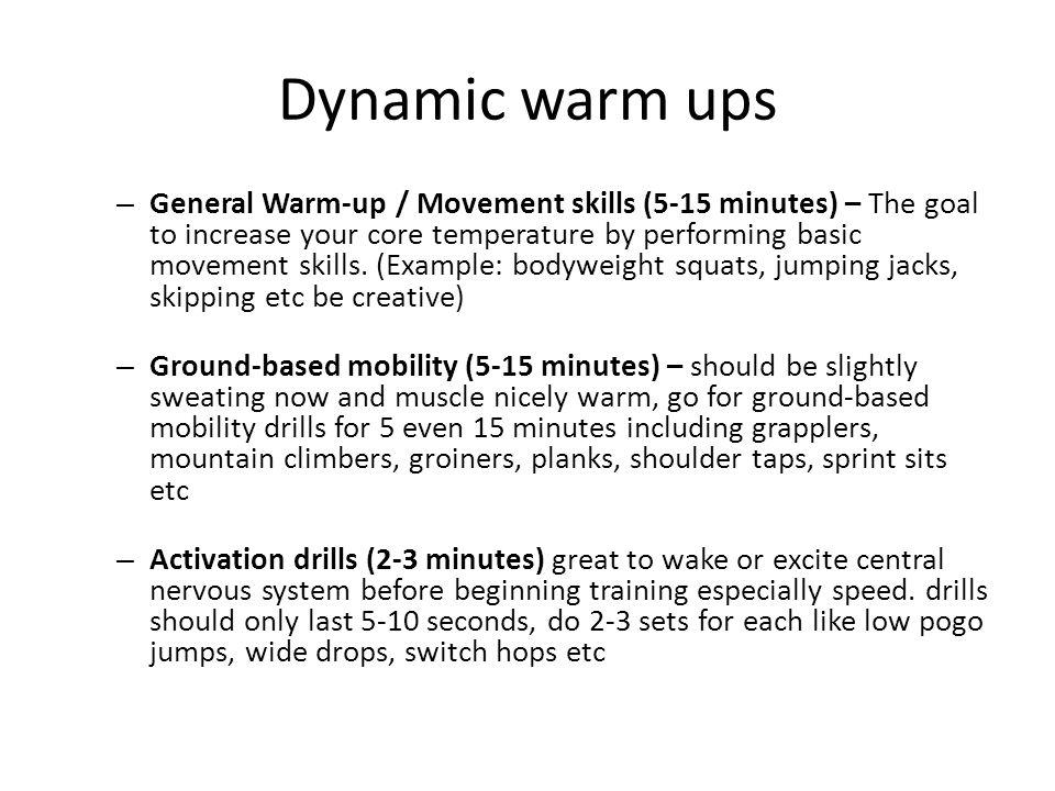 Dynamic warm ups
