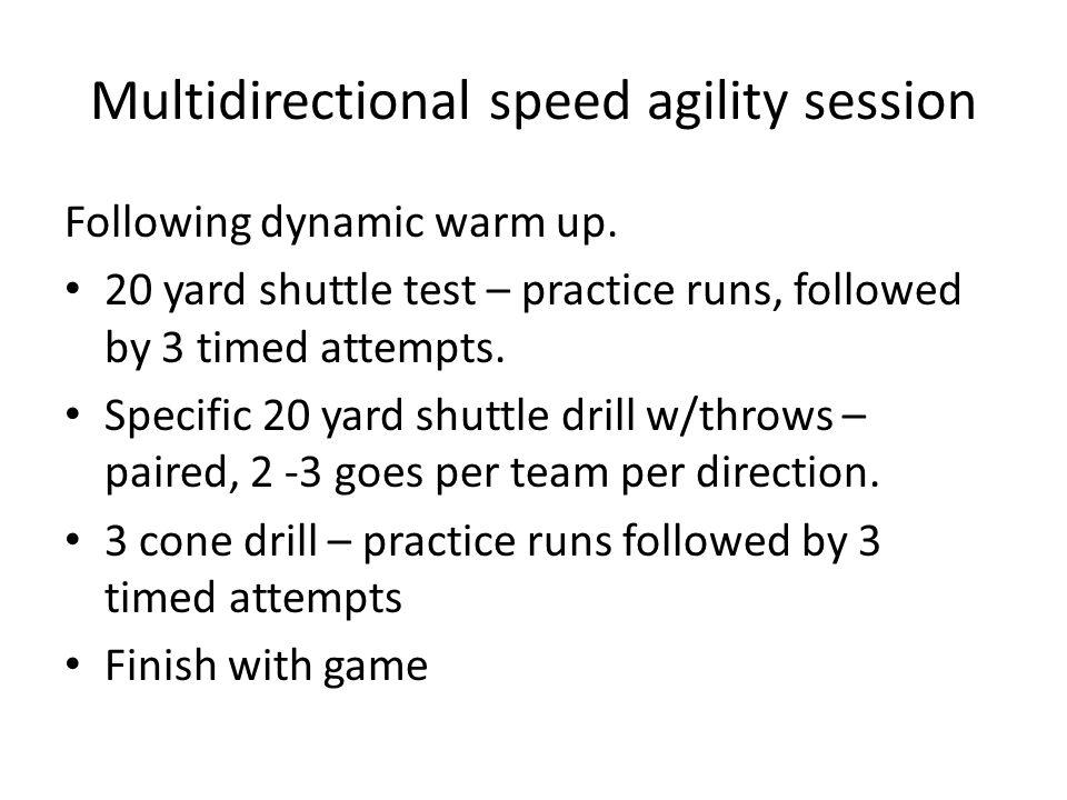 Multidirectional speed agility session