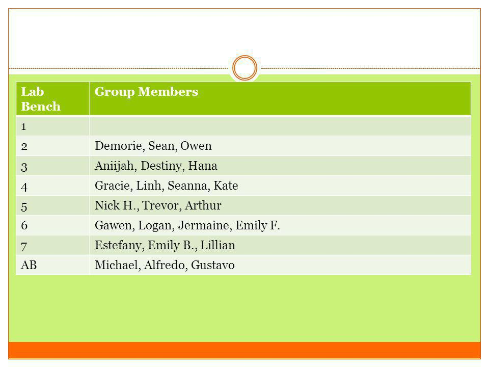 Lab Bench Group Members. 1. 2. Demorie, Sean, Owen. 3. Aniijah, Destiny, Hana. 4. Gracie, Linh, Seanna, Kate.