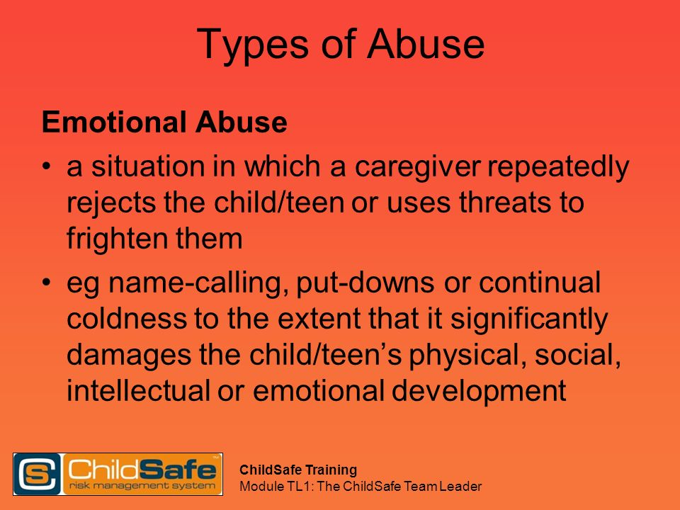 Types of Abuse Emotional Abuse