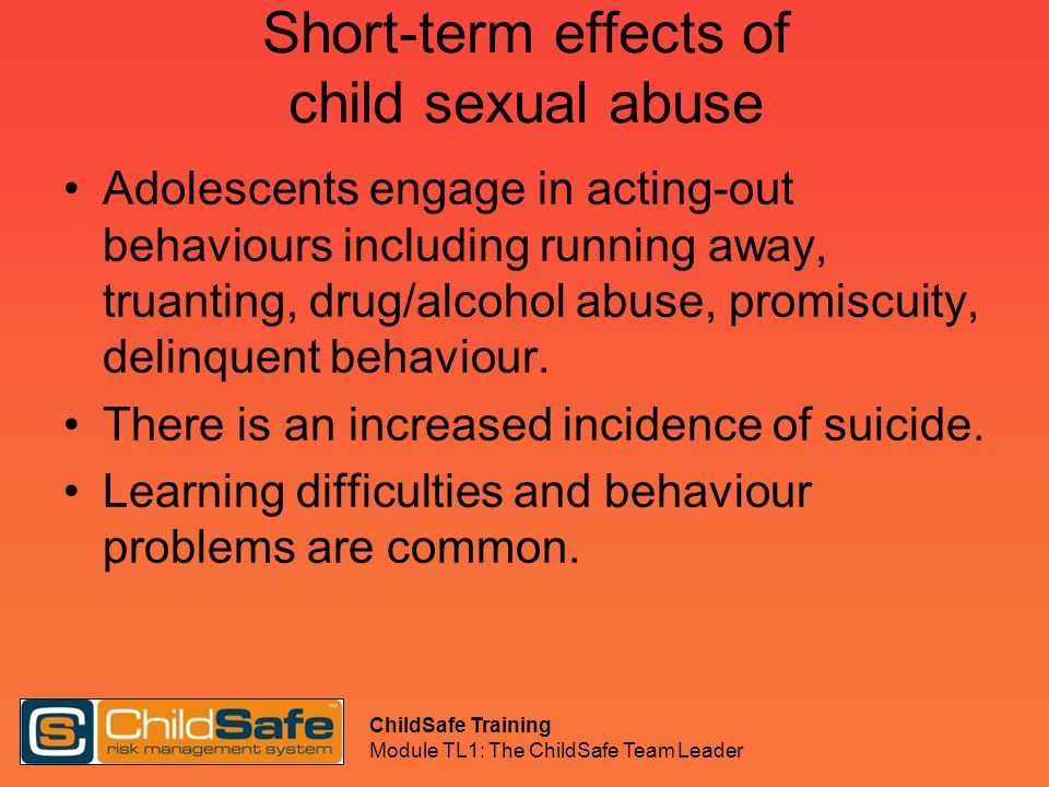 Short-term effects of child sexual abuse