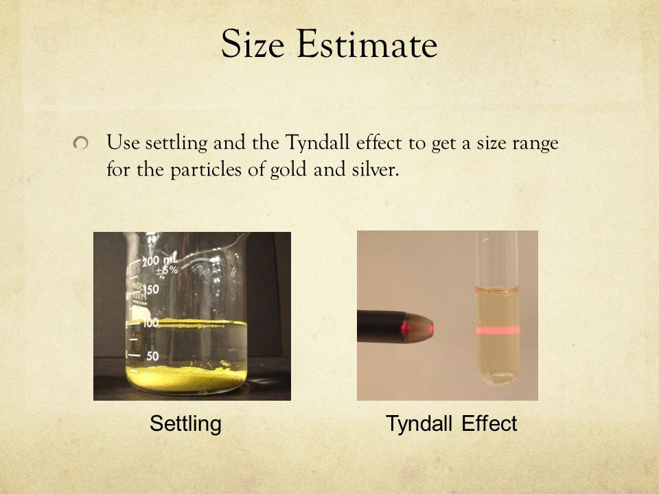 Size EstimateUse settling and the Tyndall effect to get a size range for the particles of gold and silver.