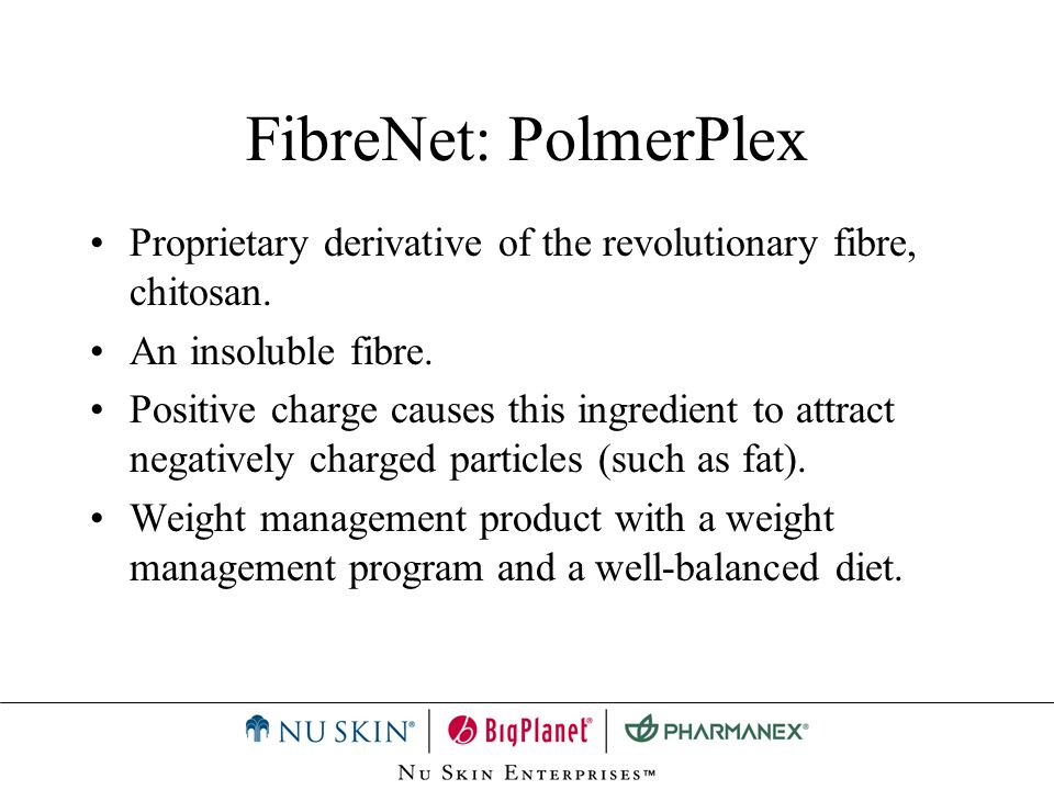 FibreNet: PolmerPlex Proprietary derivative of the revolutionary fibre, chitosan. An insoluble fibre.