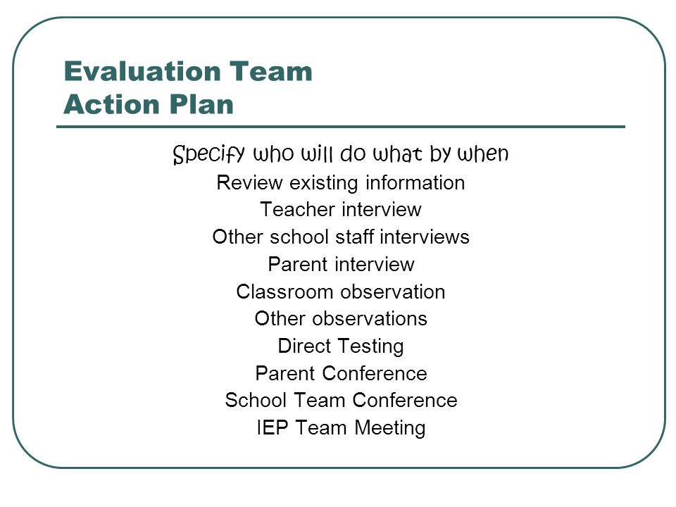 Evaluation Team Action Plan