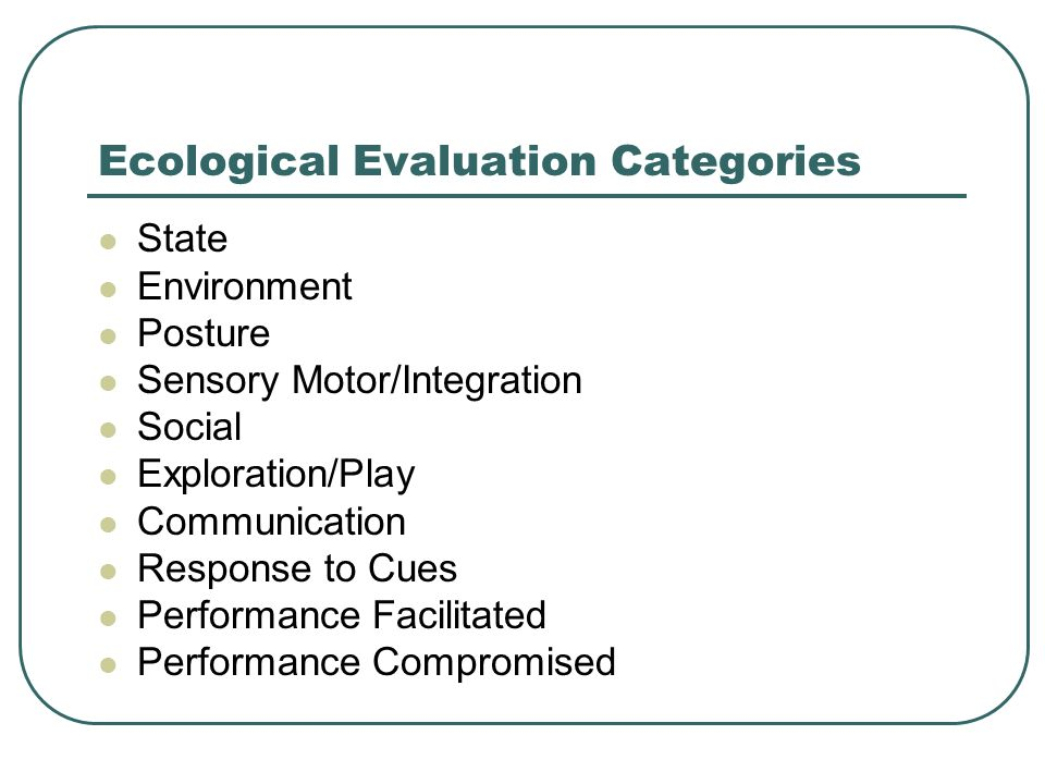 Ecological Evaluation Categories