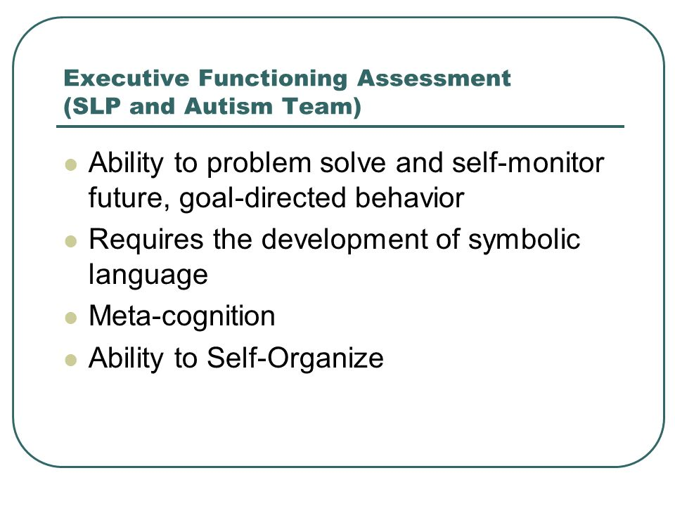 Executive Functioning Assessment (SLP and Autism Team)