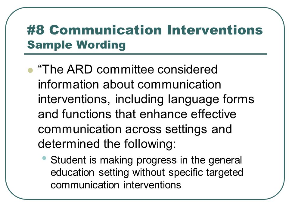 #8 Communication Interventions Sample Wording