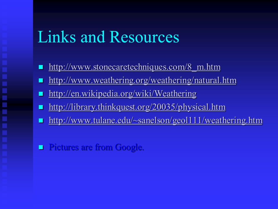 Links and Resources http://www.stonecaretechniques.com/8_m.htm