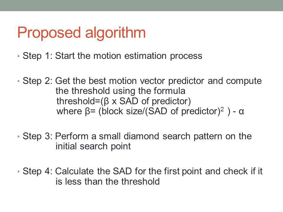 Proposed algorithm Step 1: Start the motion estimation process