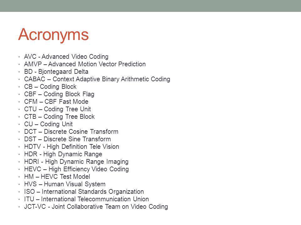 Acronyms AVC - Advanced Video Coding