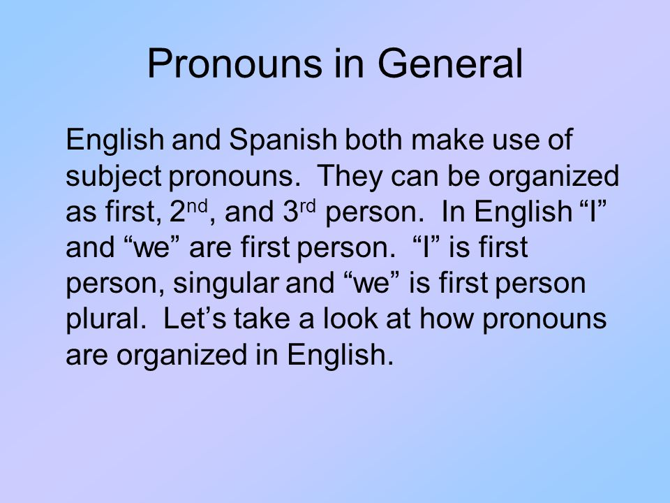 Pronouns in General