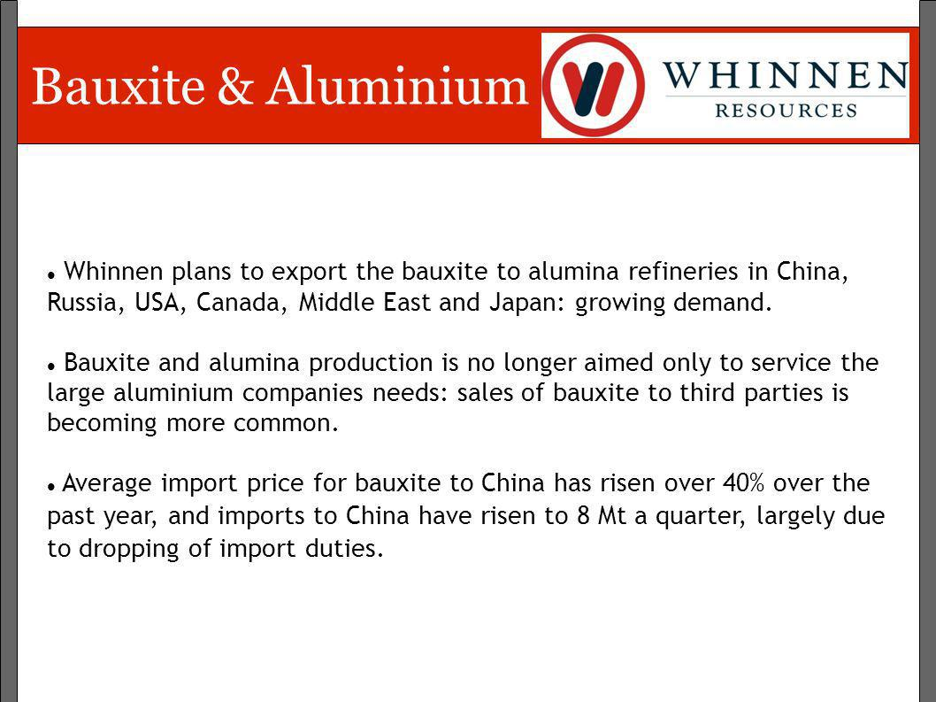 Bauxite & AluminiumWhinnen plans to export the bauxite to alumina refineries in China, Russia, USA, Canada, Middle East and Japan: growing demand.